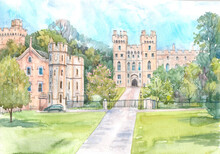 Windsor Castle Towers And Garden, Ancient English Castle, Watercolor Illustration.