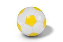 Yellow And White Soccer Ball On A White Background. 3d Illustration.