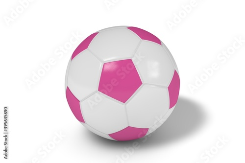 Fotomural Pink and white soccer ball on a white background