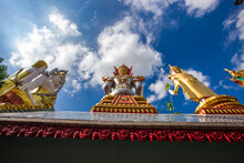 Background Of A Large Buddha Statue In Bangkok(Wat Pak Nam Phasi Charoen),over 69 Meters In Height, Stands Majestically In The Capital,a Historical And Cultural Attraction That Tourists Come To See
