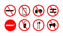 Icon Sign Prohibiting Bringing Food And Drinks, Smoking Prohibition, Prohibition Of Taking Pictures, Prohibition Of Raising Voice