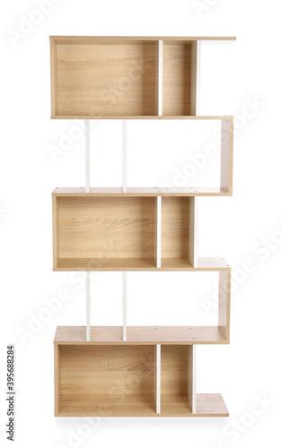 Modern empty shelf unit on white background