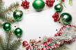 canvas print picture Beautiful Christmas composition with blank card on light background