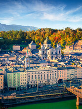 Attractive Cityscape Of Salzburg, Old City, Birthplace Of Famed Composer Mozart. Wonderful Autumn Scene Of Eastern Alps. Gorgeous Morning Landscape With Salzach River.