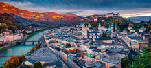 Rainy Cloud Under Old Town Of Salzburg City, Birthplace Of Famed Composer Mozart. Panoramic Autumn View Of Eastern Alps. Dramatic Landscape With Salzach River. Traveling Concept Background.
