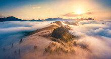 Aerial Landscape Photography. Unbelievable Sunrise In Carpathian Mountains. Perfect Morning View From Fliying Drone Of The Misty Valley. Thick Fog Spreads Over The Mountain Ranges.