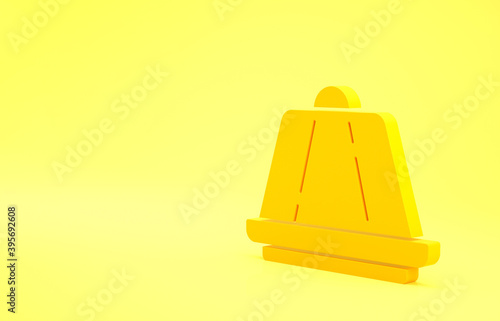 Photo Yellow Pudding custard with caramel glaze icon isolated on yellow background