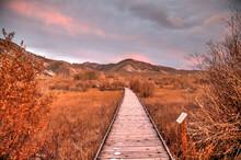 LEE VINING, CALIFORNIA, UNITED STATES - Nov 14, 2020: Boardwalk Path At Mono Lake County Park
