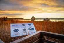 LEE VINING, CALIFORNIA, UNITED STATES - Nov 14, 2020: Mono Lake County Park Interpretive Signage
