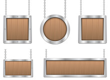 Wooden Hanging Board With Metallic Frame Vector Design Illustration Isolated On White Background