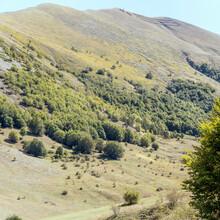 Greco Range Green Slopes Near Godi Pass, Abruzzo, Italy