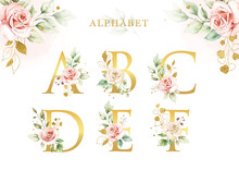 Watercolor Floral Alphabet Set With Golden Leaves