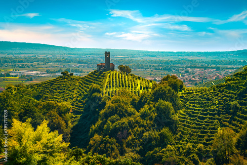 Prosecco Hills, vineyards and San Lorenzo church. Unesco Site. Veneto, Italy