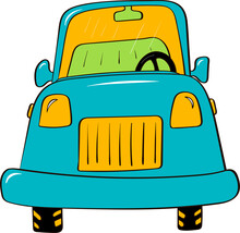 Hand-drawn Vector Blue Car On A White Background