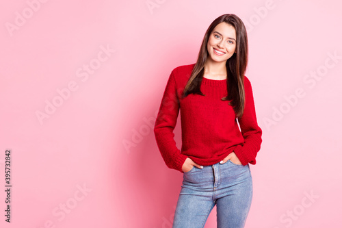 Fototapeta Photo of young charming girl hands pockets toothy shiny smiling wear red pullove