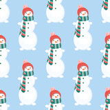 Fototapeta Dinusie - vector seamless pattern with snowmen