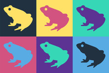 Pop Art Frog Icon Isolated On ...