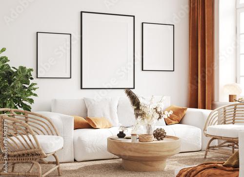 Photo Mock up frame in cozy home interior background, coastal style living room, 3d re