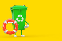 Recycle Sign Green Garbage Trash Bin Character Mascot With Life Buoy. 3d Rendering