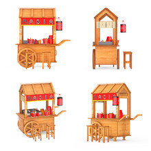 Asian Wooden Street Food Meatball Noodle Cart With Chairs. 3d Rendering