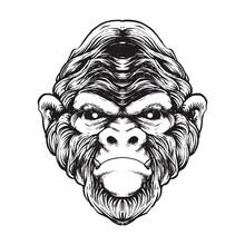 Gorilla Line Vector Art