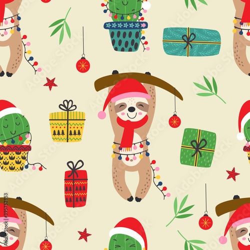 Fototapeta premium seamless pattern with Christmas sloth and cactus