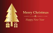 Christmas Card With Golden Christmas Tree, Deep Red Background