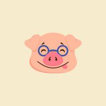 Pink Pig In Glasses, Smiles Sl...