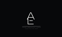 AE, EA, A And E Letter Logo Design With Creative Modern Trendy Typography