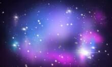 Sfondo Viola Astratto Universo. Spazio Cosmico Con Le Galassie, Stelle, Pianeti E Supernove. Nebulosa. Via Lattea. Banner.