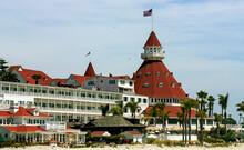 View From The Beach Of The Historic Hotel Del Coronado,California