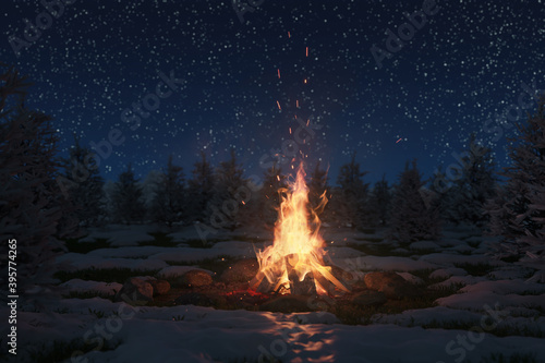 Fotografia 3d rendering of bonfire on melting snow with sparks and particles in front of pi