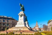 Giuseppe Garibaldi Statue View In Milano City.