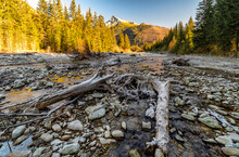 Rocky Stream Bed And Peak Krivan At Background. High Tatras Mountains, Slovakia