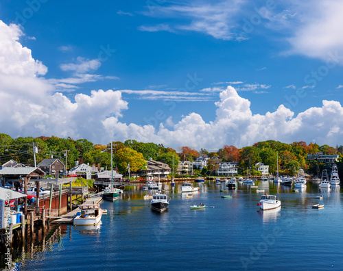 Canvas Fishing boats docked in Perkins Cove, Maine, USA