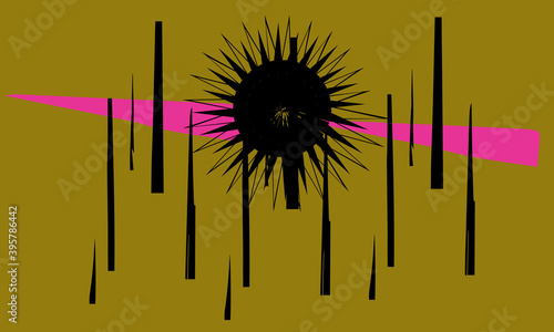 Cuadros en Lienzo Black sun, abstract forest, pink sunset