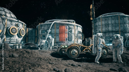 View of the lunar surface, lunar colony and astronauts working at the lunar base next to the lunar rover Canvas Print
