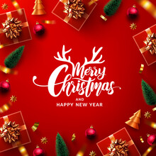 Merry Christmas & Happy New Year Promotion Poster Or Banner With Red Gift Box  And Christmas Element For Retail,Shopping Or Christmas Promotion In Red And Gold Style.