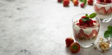 Two Glasse With Layered Yogurt...
