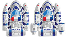 A Set Of Futuristic Police Boats. View From Above. Isolated On White Background. Vector Illustration.