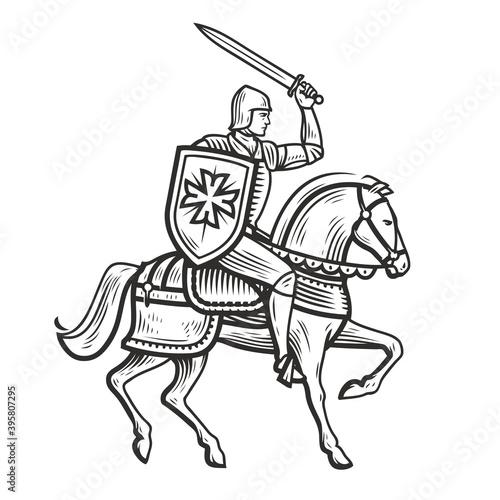 Fototapeta Knight in armor on horseback