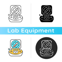 Lab Centrifuge Icon. Spinning Vessel Containing Material At High Speed. Fluids, Liquid Separation. Laboratory Equipment. Linear Black And RGB Color Styles. Isolated Vector Illustrations