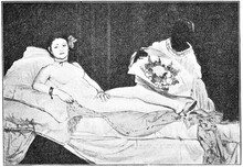 """""""Olympia"""" Is A Painting By A French Modernist Painter Of Edouard Manet. Illustration Of The 19th Century. White Background."""