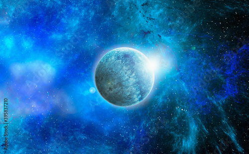Fototapety, obrazy: Unknown planet from outer space. Space nebula. Cosmic cluster of stars. Outer space background. 3D Illustration