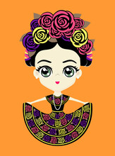 Illustration Of Cute Mexican Doll In Traditional National Dress From Chiapas, Mexico. Isolated On Orange Background