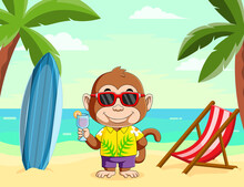 The Monkey Doing The Vacation In The Beach And Holding The Orange Juice With The Beautiful View