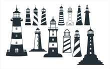 Assorted Lighthouse Vector Graphic Design Template Set For Sticker, Decoration, Cutting And Print File