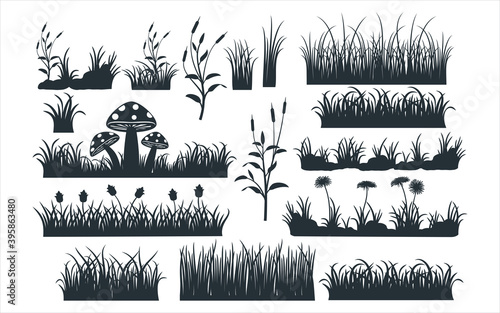 assorted grass and grass field vector graphic design template set for sticker, d Wallpaper Mural