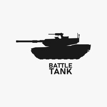 Tank Silhouette. Battle Canon. War Icon Sign Or Symbol. Modern Armor Logo. Warfare Technology. Battlefield Vehicle Transportation. Army Or Military Hardware. Defense Weapon Black Vector Illustration.