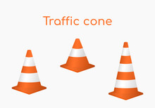 Vector Illustration, Types Of Traffic Cones, Different Sizes And Purposes. Volumetric Isometric Orange Cones For Enclosing Works, Repairs, Fencing Of A Territory, An Object.